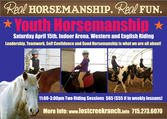 lost creek ranch wi youth horsemanship riding clinics