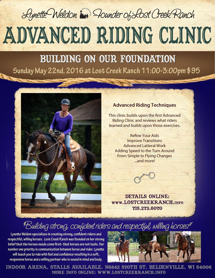 advanced riding clinic with lynette weldon lost creek ranch beldenville wi