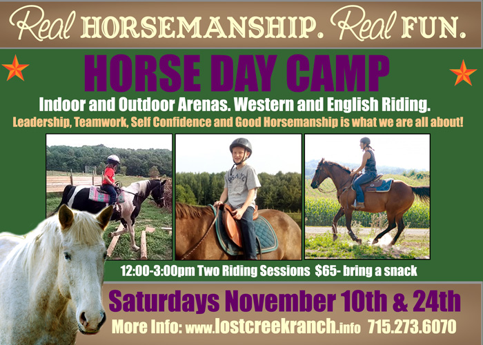 youth horse day camp lost creek ranch wi
