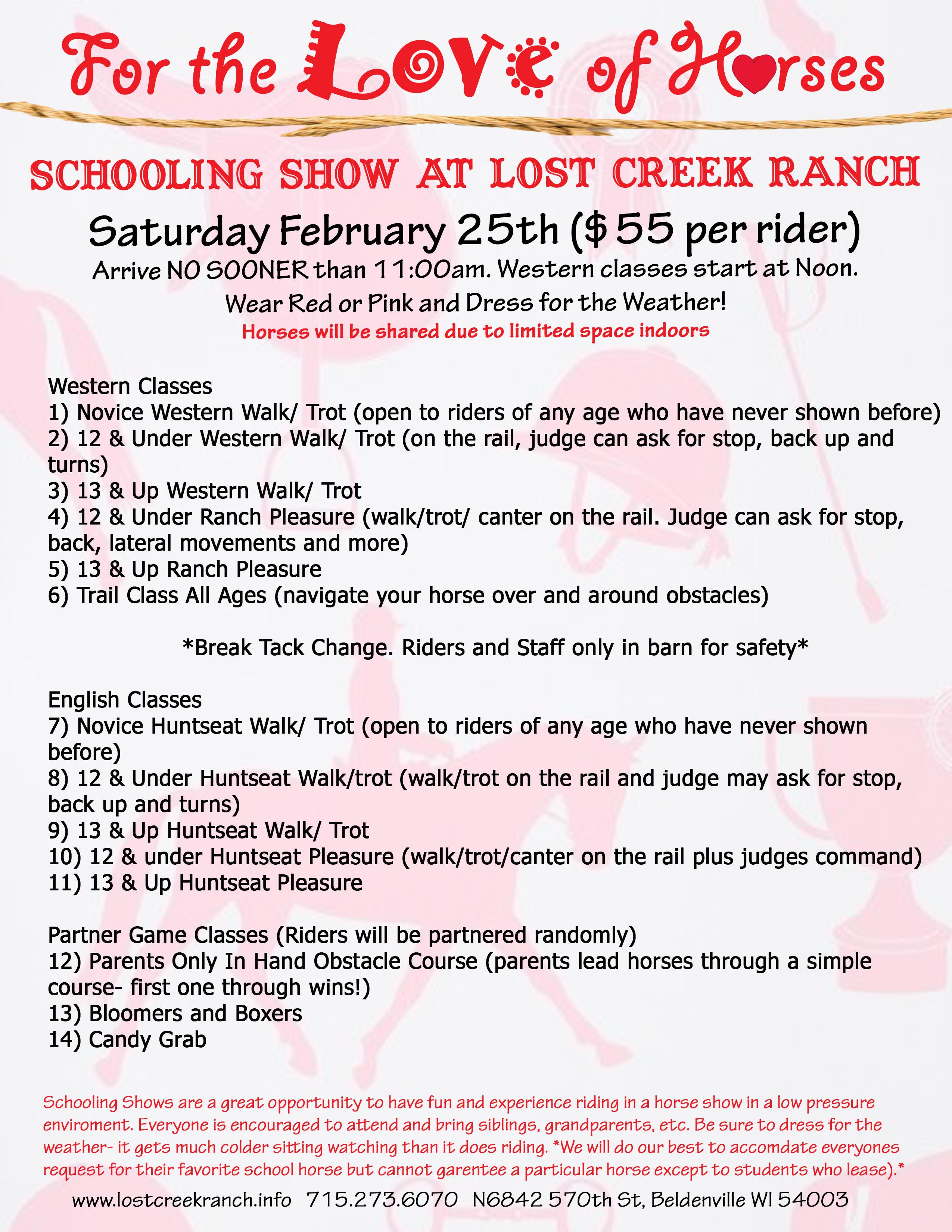 lost creek ranch wi winter schooling show bill
