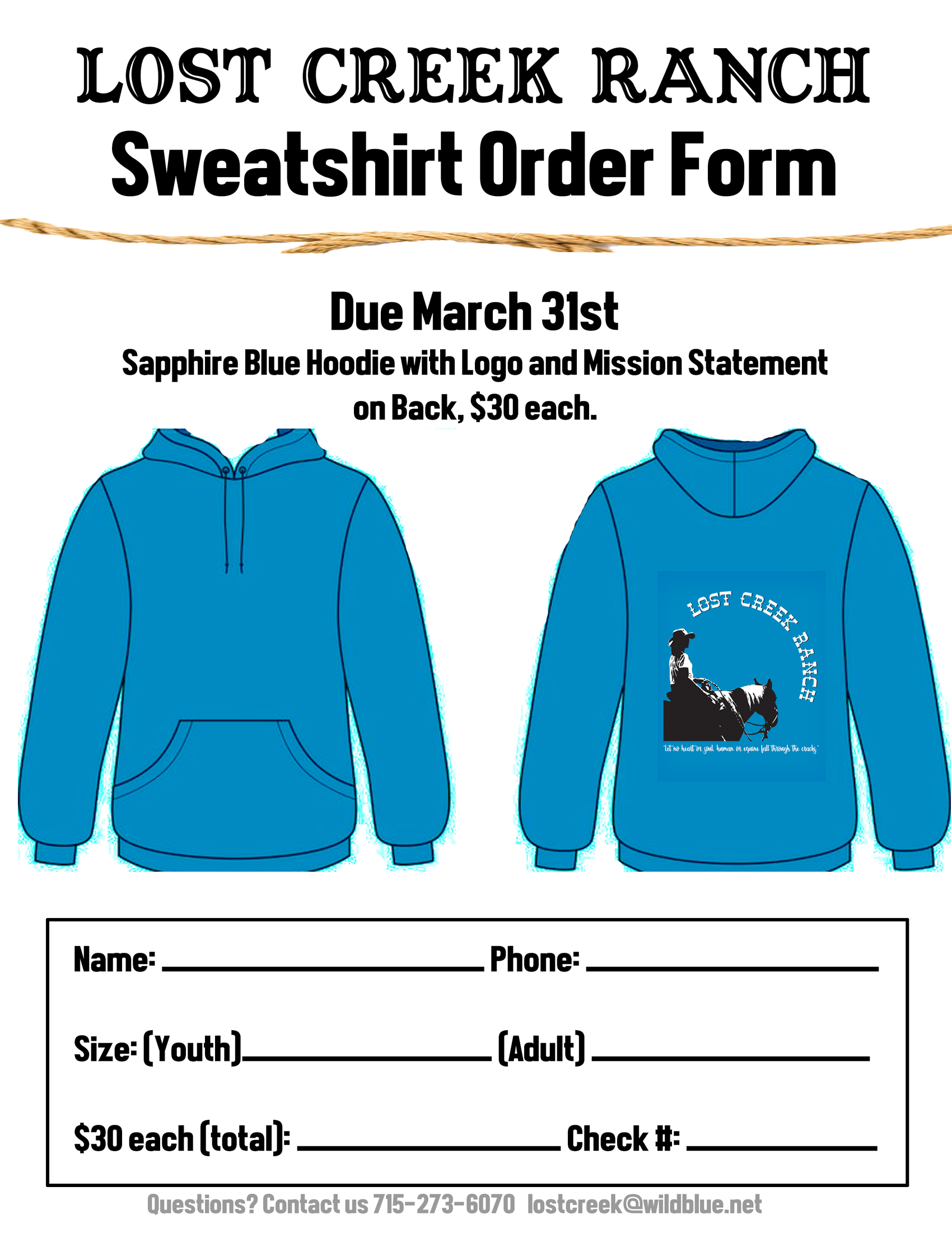 lost creek ranch wi sweatshirt order