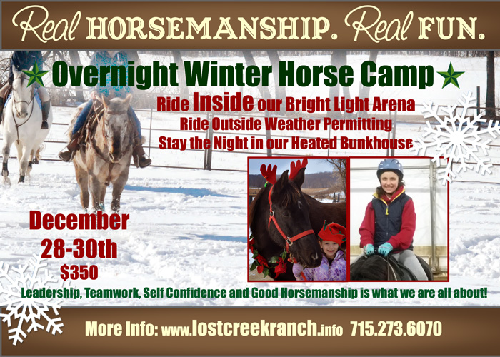 winter horse camp youth overnight winter horse camp lost creek ranch wisconsin