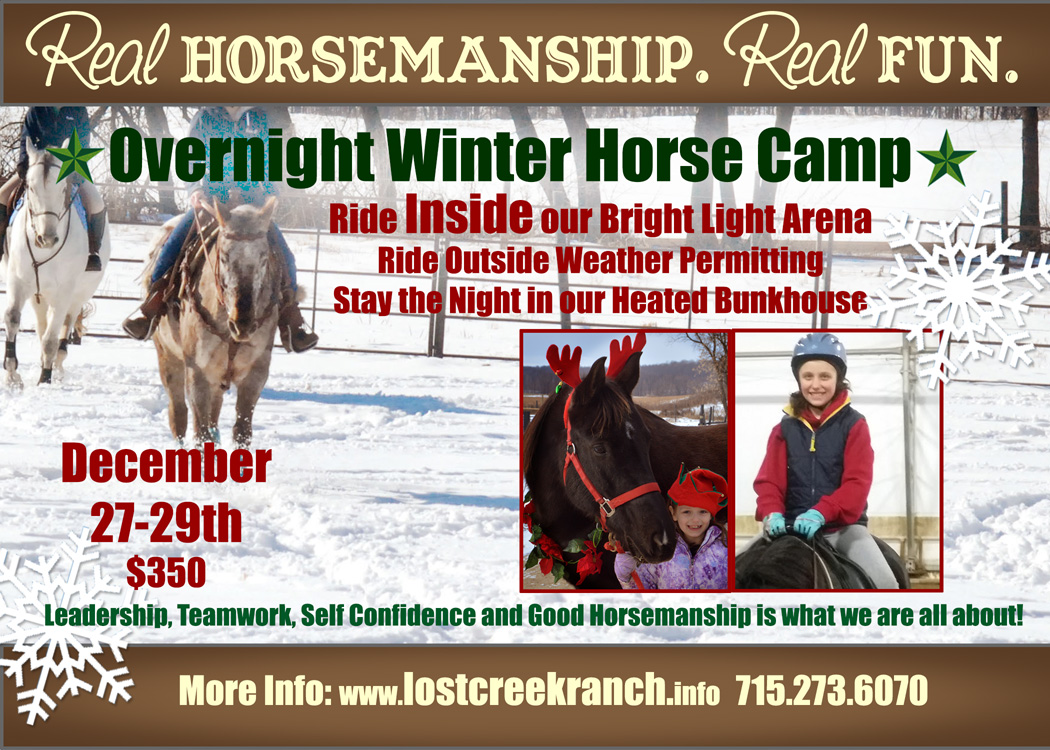 winter horse camp  youth overnight horse camp wi