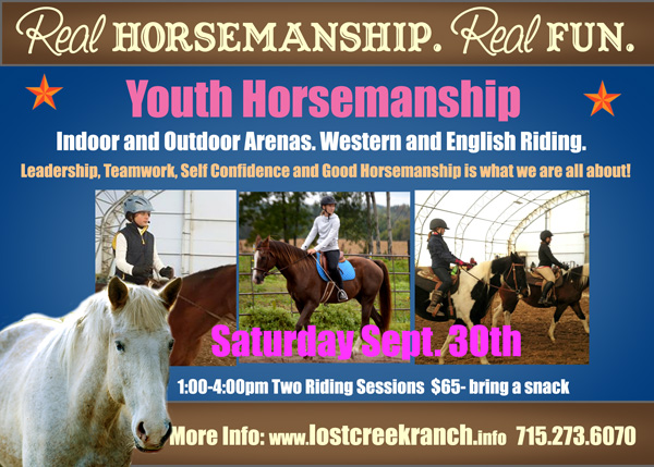 youth horsemanship losrt creek ranch wi